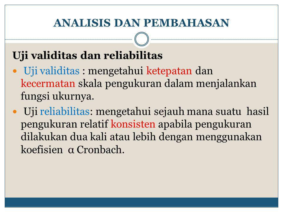 ANALISIS DAN PEMBAHASAN Uji validitas dan reliabilitas  Uji validitas : mengetahui ketepatan dan kecermatan skala pengukuran dalam menjalankan fungsi ukurnya.