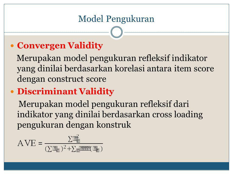 Model Pengukuran  Convergen Validity Merupakan model pengukuran refleksif indikator yang dinilai berdasarkan korelasi antara item score dengan construct score  Discriminant Validity Merupakan model pengukuran refleksif dari indikator yang dinilai berdasarkan cross loading pengukuran dengan konstruk