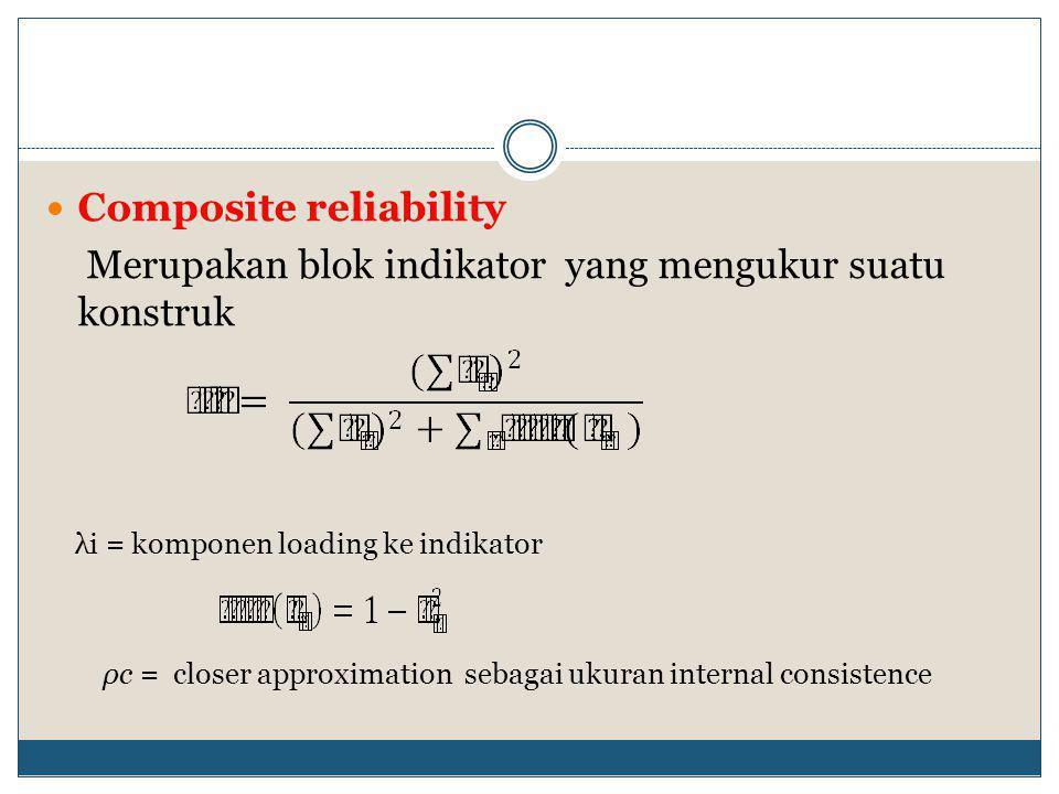  Composite reliability Merupakan blok indikator yang mengukur suatu konstruk λi = komponen loading ke indikator ρc = closer approximation sebagai ukuran internal consistence