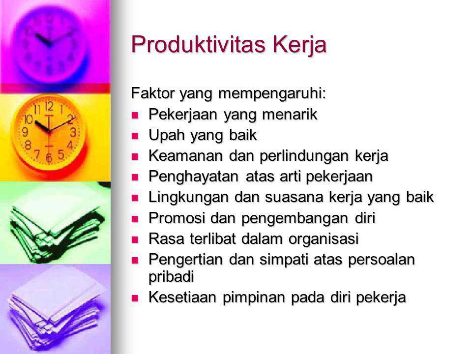 Produktivitas Kerja Faktor yang mempengaruhi:  Pekerjaan yang menarik  Upah yang baik  Keamanan dan perlindungan kerja  Penghayatan atas arti peke