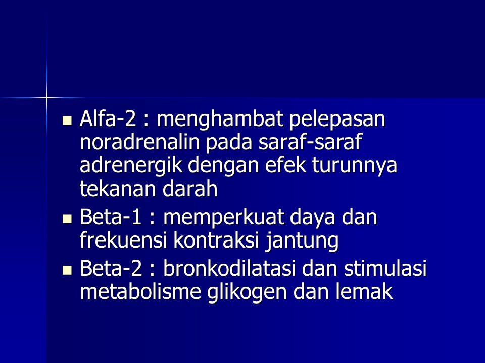  Alfa-2 : menghambat pelepasan noradrenalin pada saraf-saraf adrenergik dengan efek turunnya tekanan darah  Beta-1 : memperkuat daya dan frekuensi kontraksi jantung  Beta-2 : bronkodilatasi dan stimulasi metabolisme glikogen dan lemak