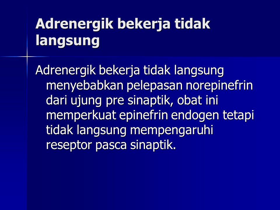 Adrenergik bekerja tidak langsung Adrenergik bekerja tidak langsung menyebabkan pelepasan norepinefrin dari ujung pre sinaptik, obat ini memperkuat ep