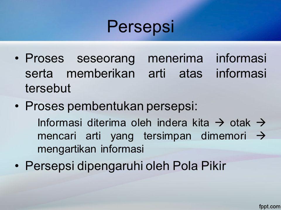 Persepsi •Proses seseorang menerima informasi serta memberikan arti atas informasi tersebut •Proses pembentukan persepsi: Informasi diterima oleh inde