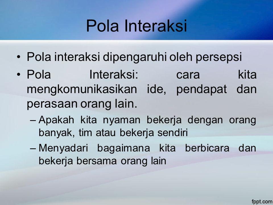 Pola Interaksi •Pola interaksi dipengaruhi oleh persepsi •Pola Interaksi: cara kita mengkomunikasikan ide, pendapat dan perasaan orang lain. –Apakah k