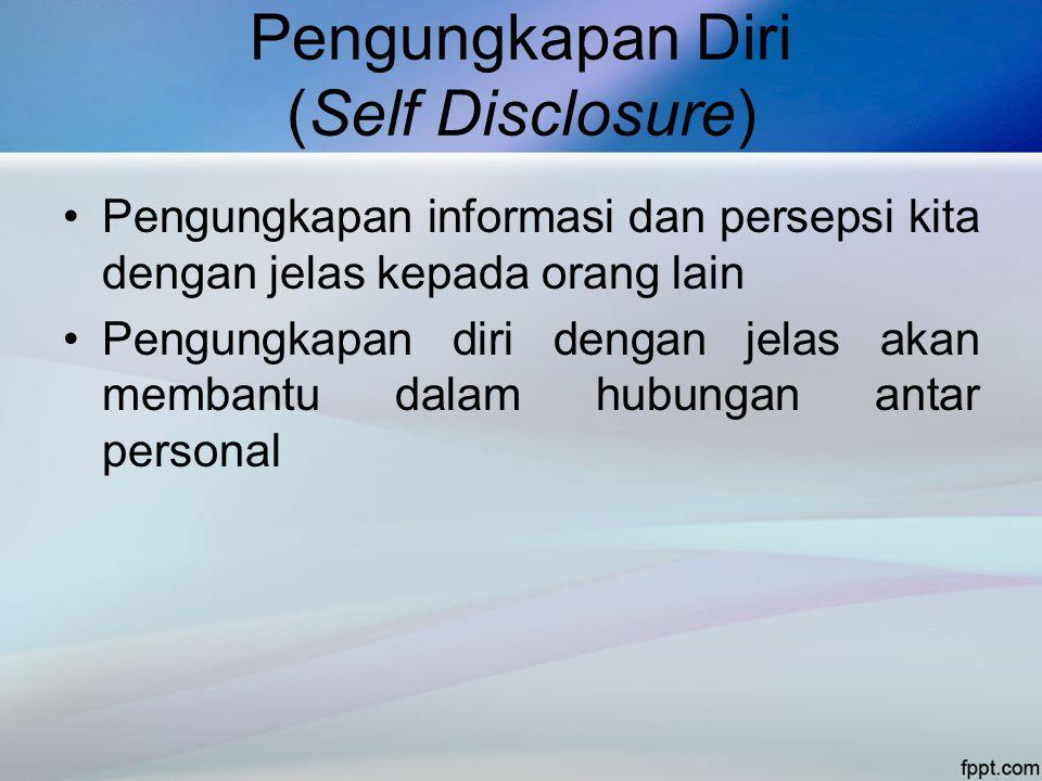 Pengungkapan Diri (Self Disclosure) •Pengungkapan informasi dan persepsi kita dengan jelas kepada orang lain •Pengungkapan diri dengan jelas akan membantu dalam hubungan antar personal