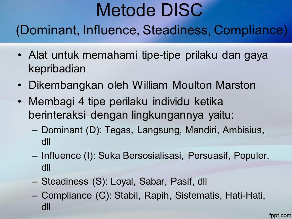 Metode DISC (Dominant, Influence, Steadiness, Compliance) •Alat untuk memahami tipe-tipe prilaku dan gaya kepribadian •Dikembangkan oleh William Moulton Marston •Membagi 4 tipe perilaku individu ketika berinteraksi dengan lingkungannya yaitu: –Dominant (D): Tegas, Langsung, Mandiri, Ambisius, dll –Influence (I): Suka Bersosialisasi, Persuasif, Populer, dll –Steadiness (S): Loyal, Sabar, Pasif, dll –Compliance (C): Stabil, Rapih, Sistematis, Hati-Hati, dll