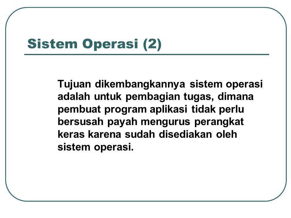 Sistem Operasi (2) Tujuan dikembangkannya sistem operasi adalah untuk pembagian tugas, dimana pembuat program aplikasi tidak perlu bersusah payah meng