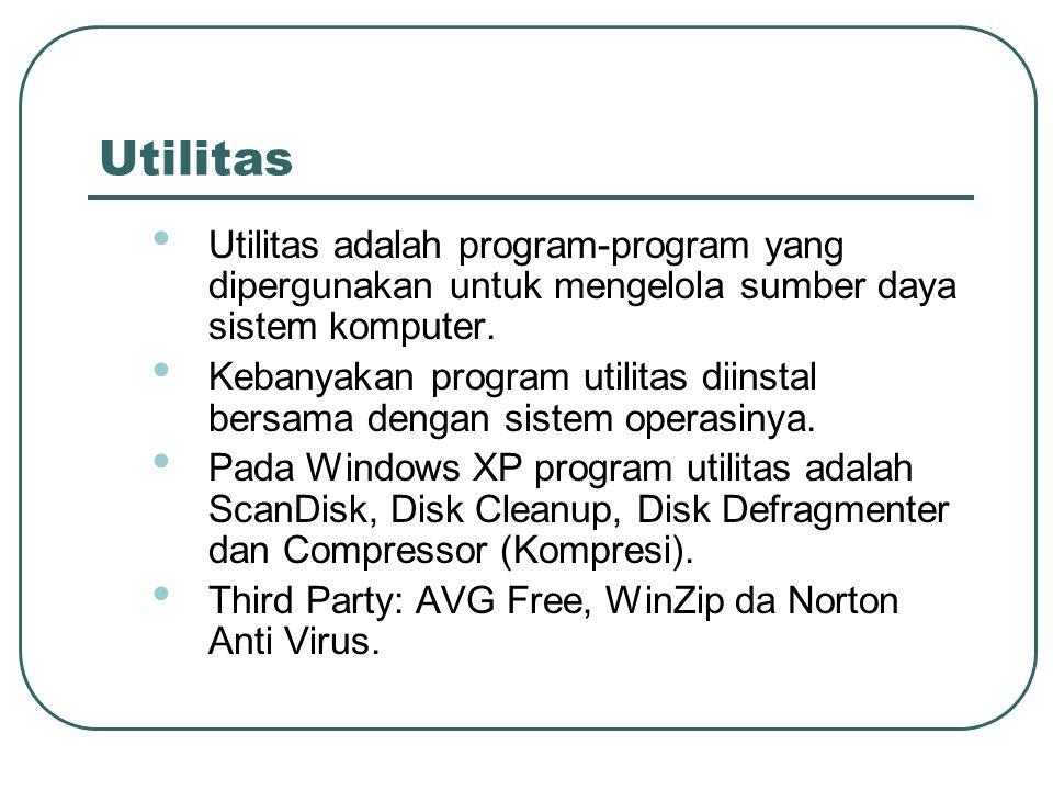 Utilitas • Utilitas adalah program-program yang dipergunakan untuk mengelola sumber daya sistem komputer. • Kebanyakan program utilitas diinstal bersa