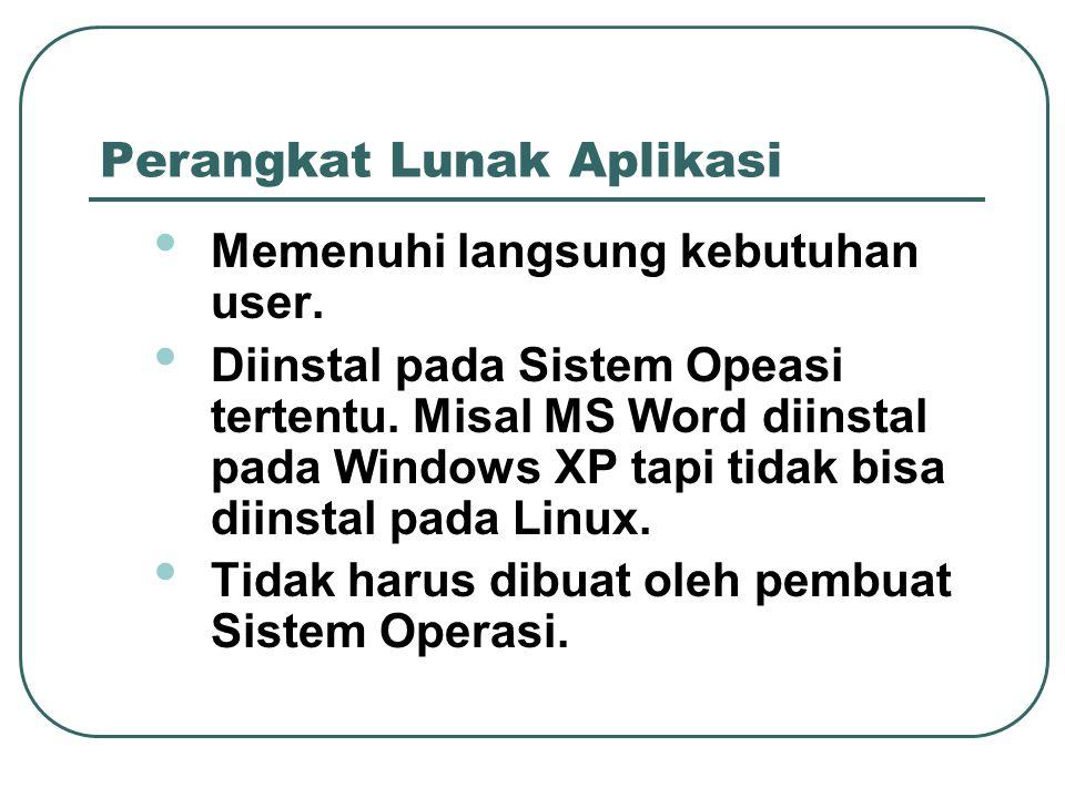 Perangkat Lunak Aplikasi • Memenuhi langsung kebutuhan user. • Diinstal pada Sistem Opeasi tertentu. Misal MS Word diinstal pada Windows XP tapi tidak