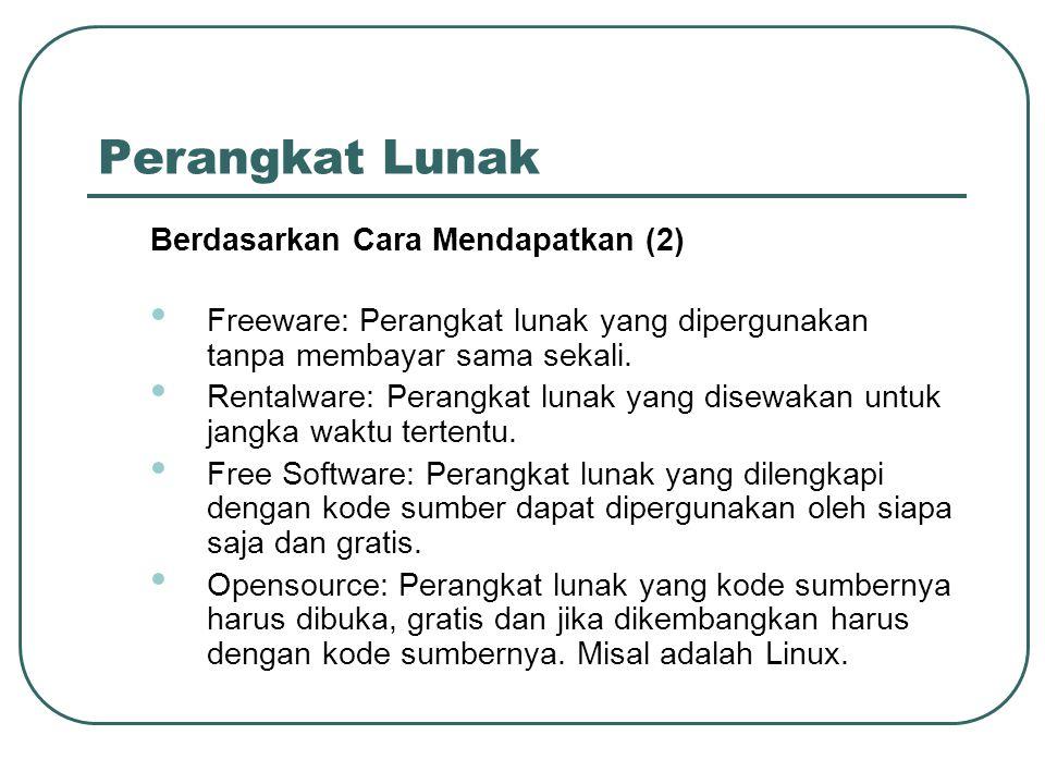 Perangkat Lunak Berdasarkan Cara Mendapatkan (2) • Freeware: Perangkat lunak yang dipergunakan tanpa membayar sama sekali. • Rentalware: Perangkat lun