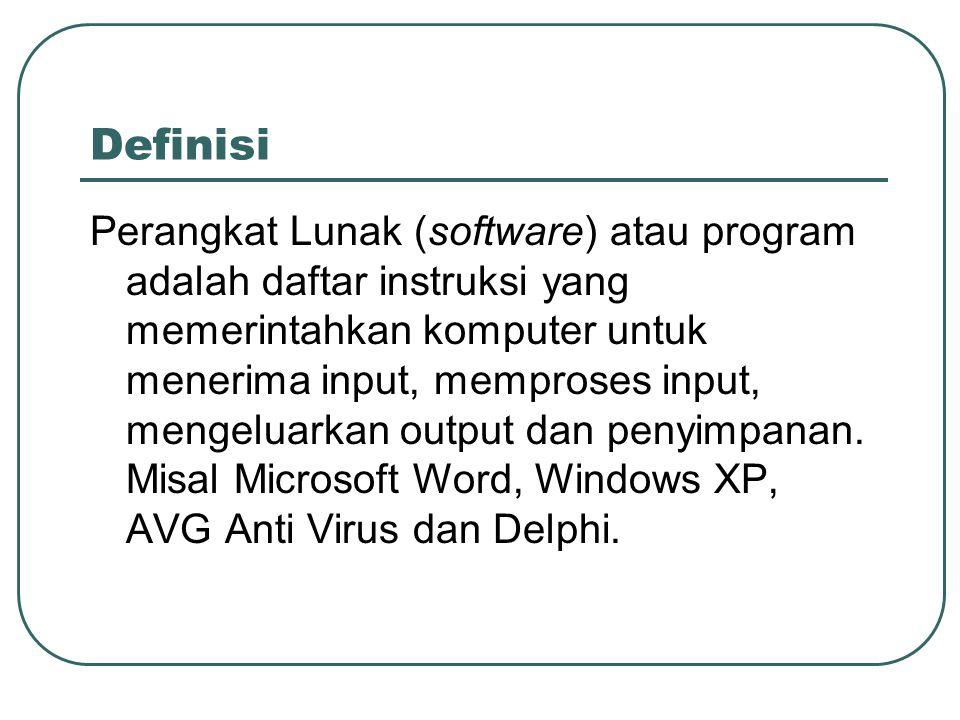 Definisi Perangkat Lunak (software) atau program adalah daftar instruksi yang memerintahkan komputer untuk menerima input, memproses input, mengeluark