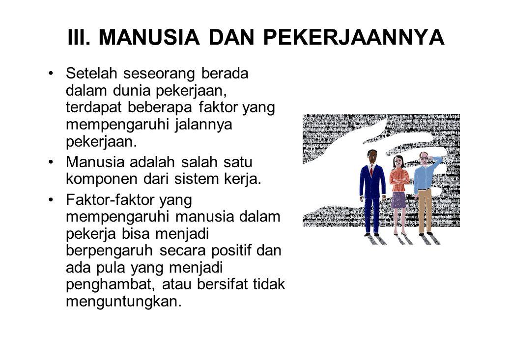 III. MANUSIA DAN PEKERJAANNYA •Setelah seseorang berada dalam dunia pekerjaan, terdapat beberapa faktor yang mempengaruhi jalannya pekerjaan. •Manusia