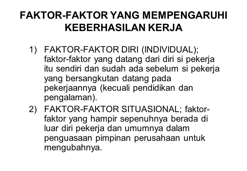 FAKTOR-FAKTOR YANG MEMPENGARUHI KEBERHASILAN KERJA 1)FAKTOR-FAKTOR DIRI (INDIVIDUAL); faktor-faktor yang datang dari diri si pekerja itu sendiri dan s