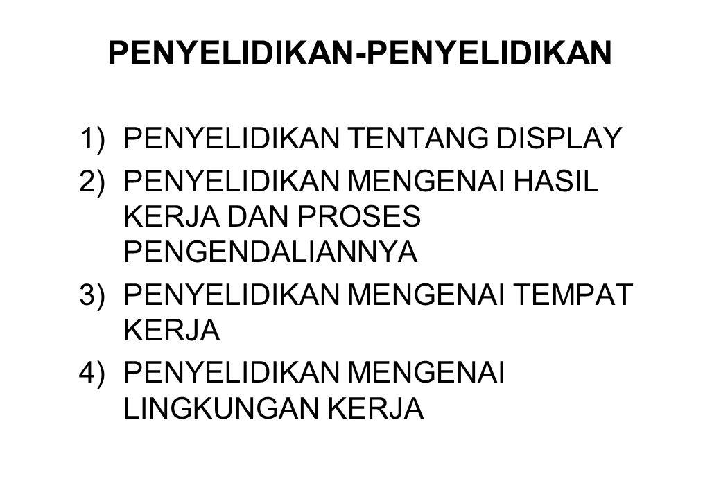 PENYELIDIKAN-PENYELIDIKAN 1)PENYELIDIKAN TENTANG DISPLAY 2)PENYELIDIKAN MENGENAI HASIL KERJA DAN PROSES PENGENDALIANNYA 3)PENYELIDIKAN MENGENAI TEMPAT