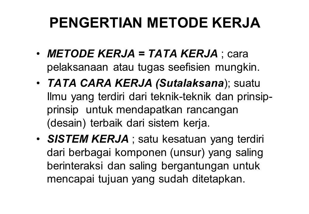 PENGERTIAN METODE KERJA •METODE KERJA = TATA KERJA ; cara pelaksanaan atau tugas seefisien mungkin. •TATA CARA KERJA (Sutalaksana); suatu Ilmu yang te