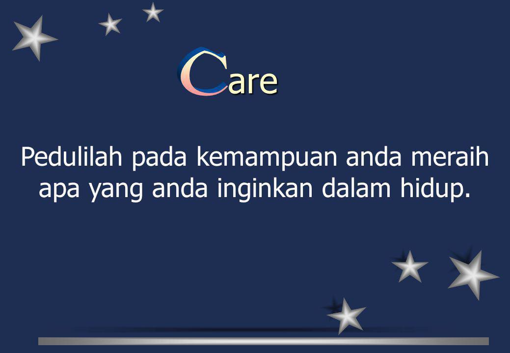 Pedulilah pada kemampuan anda meraih apa yang anda inginkan dalam hidup. are