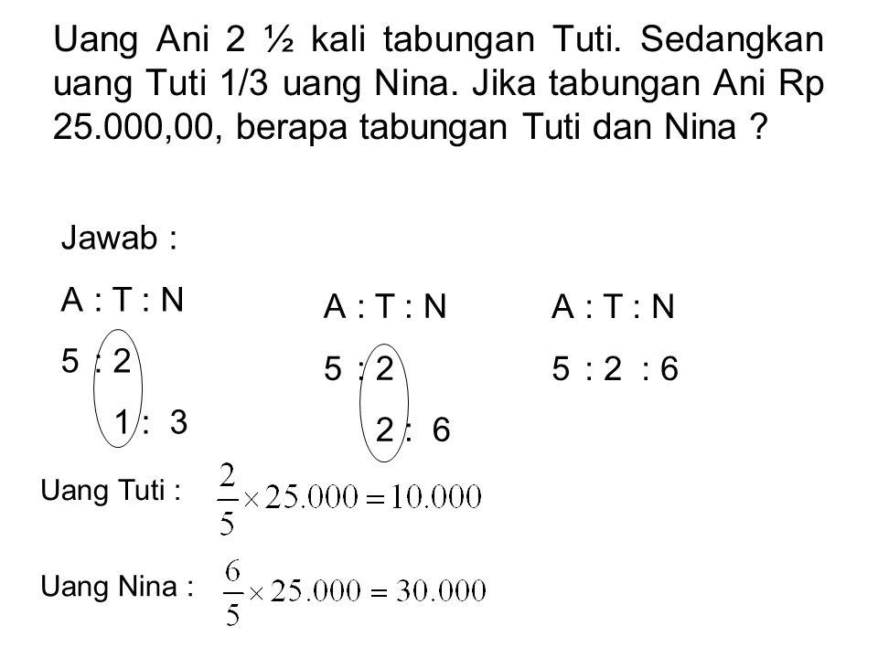 Uang Ani 2 ½ kali tabungan Tuti.Sedangkan uang Tuti 1/3 uang Nina.