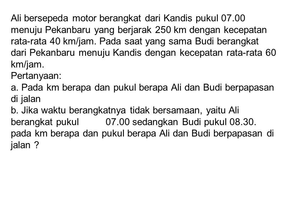Ali bersepeda motor berangkat dari Kandis pukul 07.00 menuju Pekanbaru yang berjarak 250 km dengan kecepatan rata-rata 40 km/jam.
