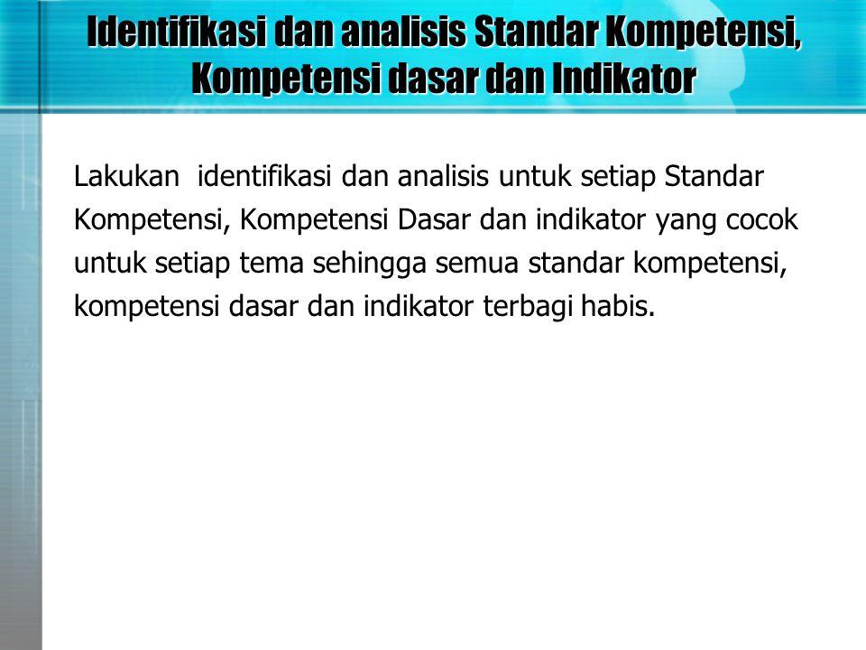 Identifikasi dan analisis Standar Kompetensi, Kompetensi dasar dan Indikator Lakukan identifikasi dan analisis untuk setiap Standar Kompetensi, Kompet