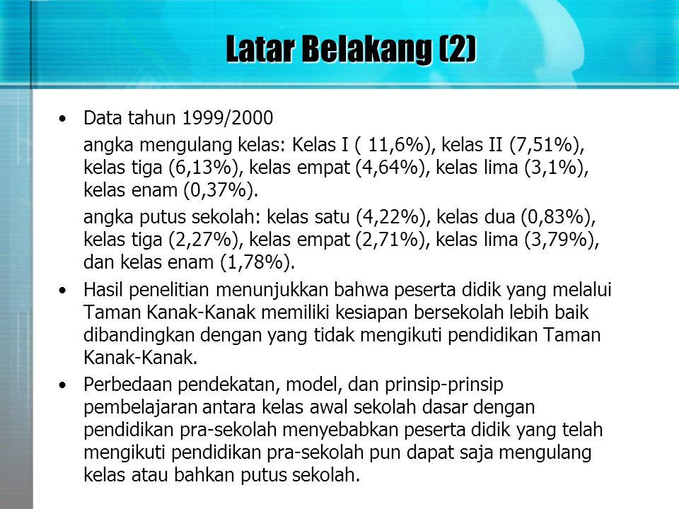 Latar Belakang (2) •Data tahun 1999/2000 angka mengulang kelas: Kelas I ( 11,6%), kelas II (7,51%), kelas tiga (6,13%), kelas empat (4,64%), kelas lim