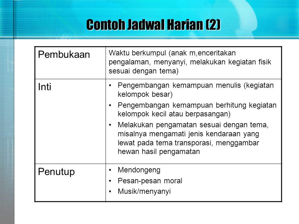 Contoh Jadwal Harian (2) Pembukaan Waktu berkumpul (anak m,enceritakan pengalaman, menyanyi, melakukan kegiatan fisik sesuai dengan tema) Inti •Pengem