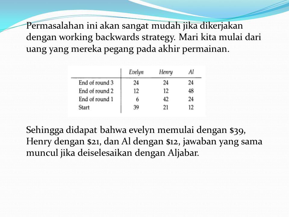 Permasalahan ini akan sangat mudah jika dikerjakan dengan working backwards strategy. Mari kita mulai dari uang yang mereka pegang pada akhir permaina