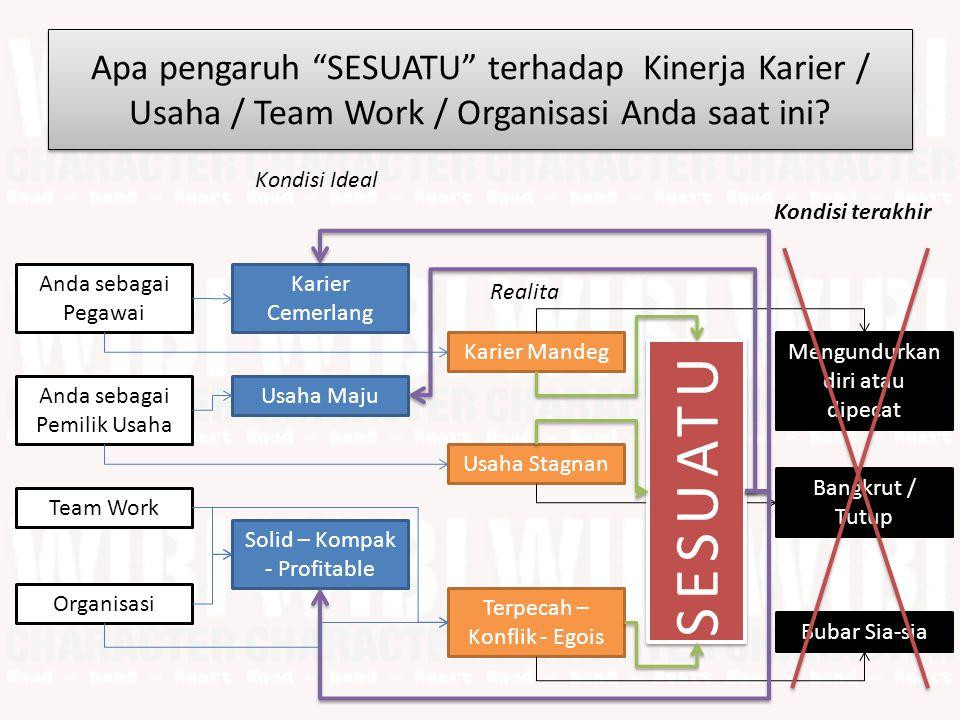 Apa pengaruh SESUATU terhadap Kinerja Karier / Usaha / Team Work / Organisasi Anda saat ini.