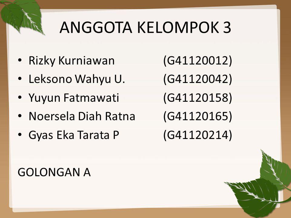 ANGGOTA KELOMPOK 3 • Rizky Kurniawan (G41120012) • Leksono Wahyu U.(G41120042) • Yuyun Fatmawati(G41120158) • Noersela Diah Ratna(G41120165) • Gyas Eka Tarata P(G41120214) GOLONGAN A