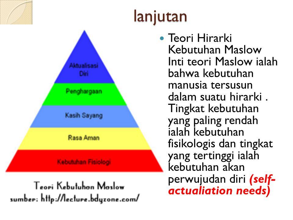 lanjutan  Teori Hirarki Kebutuhan Maslow Inti teori Maslow ialah bahwa kebutuhan manusia tersusun dalam suatu hirarki. Tingkat kebutuhan yang paling