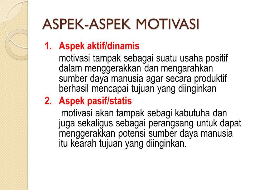 ASPEK-ASPEK MOTIVASI 1. Aspek aktif/dinamis motivasi tampak sebagai suatu usaha positif dalam menggerakkan dan mengarahkan sumber daya manusia agar se