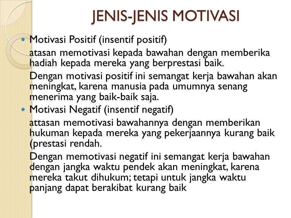JENIS-JENIS MOTIVASI  Motivasi Positif (insentif positif) atasan memotivasi kepada bawahan dengan memberika hadiah kepada mereka yang berprestasi bai