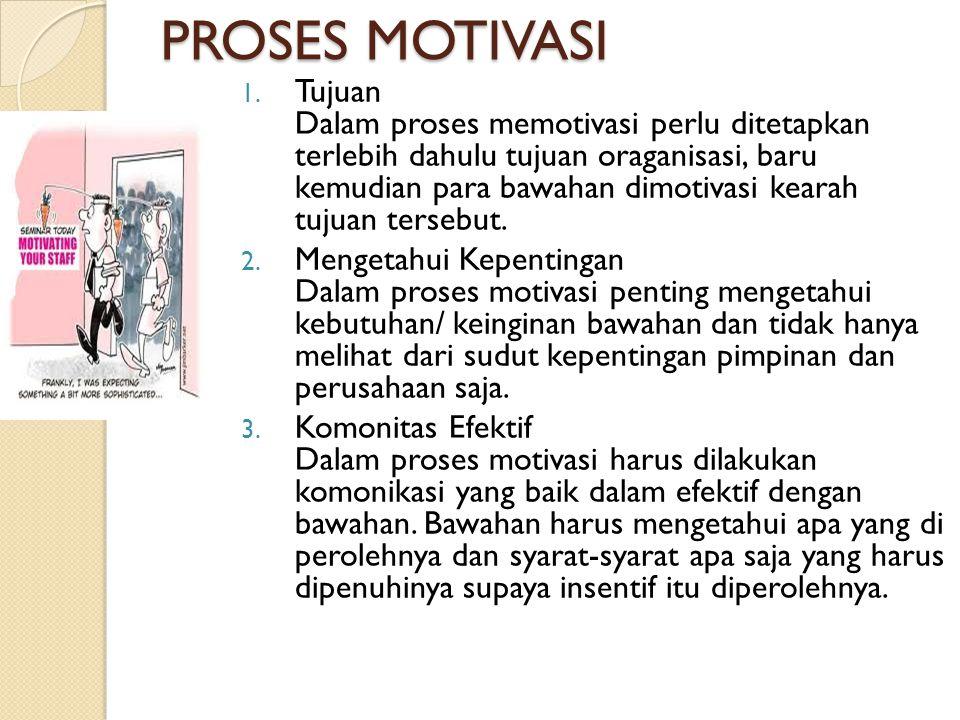 PROSES MOTIVASI 1. Tujuan Dalam proses memotivasi perlu ditetapkan terlebih dahulu tujuan oraganisasi, baru kemudian para bawahan dimotivasi kearah tu