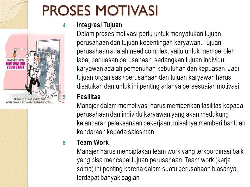 PROSES MOTIVASI 4. Integrasi Tujuan Dalam proses motivasi perlu untuk menyatukan tujuan perusahaan dan tujuan kepentingan karyawan. Tujuan perusahaan