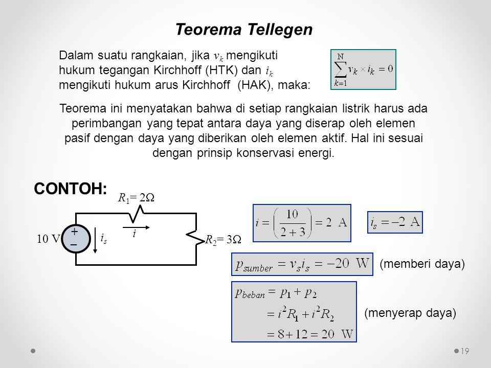 Teorema Tellegen Dalam suatu rangkaian, jika v k mengikuti hukum tegangan Kirchhoff (HTK) dan i k mengikuti hukum arus Kirchhoff (HAK), maka: Teorema