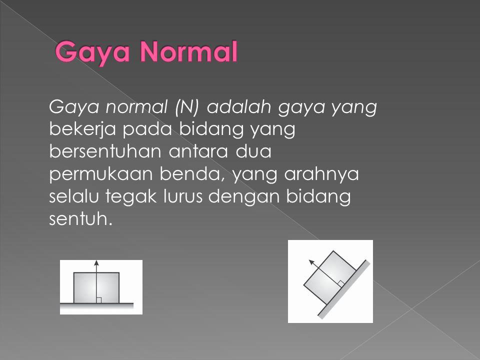 Gaya normal (N) adalah gaya yang bekerja pada bidang yang bersentuhan antara dua permukaan benda, yang arahnya selalu tegak lurus dengan bidang sentuh.