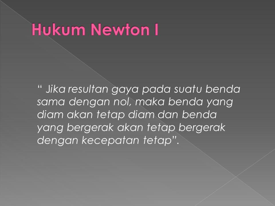 Kesimpulan Newton tersebut dikenal sebagai hukum I Newton.