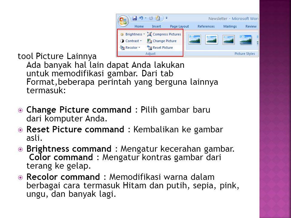 tool Picture Lainnya Ada banyak hal lain dapat Anda lakukan untuk memodifikasi gambar. Dari tab Format,beberapa perintah yang berguna lainnya termasuk