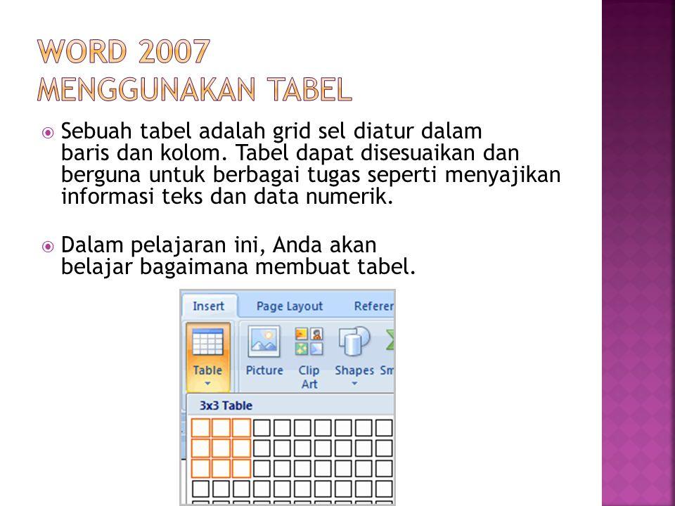  Sebuah tabel adalah grid sel diatur dalam baris dan kolom. Tabel dapat disesuaikan dan berguna untuk berbagai tugas seperti menyajikan informasi tek