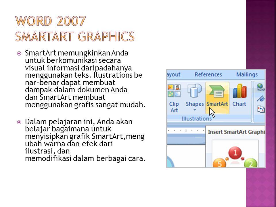  SmartArt memungkinkan Anda untuk berkomunikasi secara visual informasi daripadahanya menggunakan teks. Ilustrations be nar-benar dapat membuat dampa