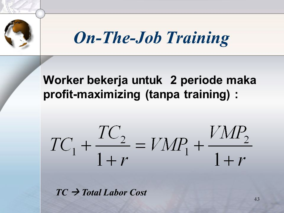 42  On-the-job training merupakan salah satu aspek penting dalam worker's human capital stock.