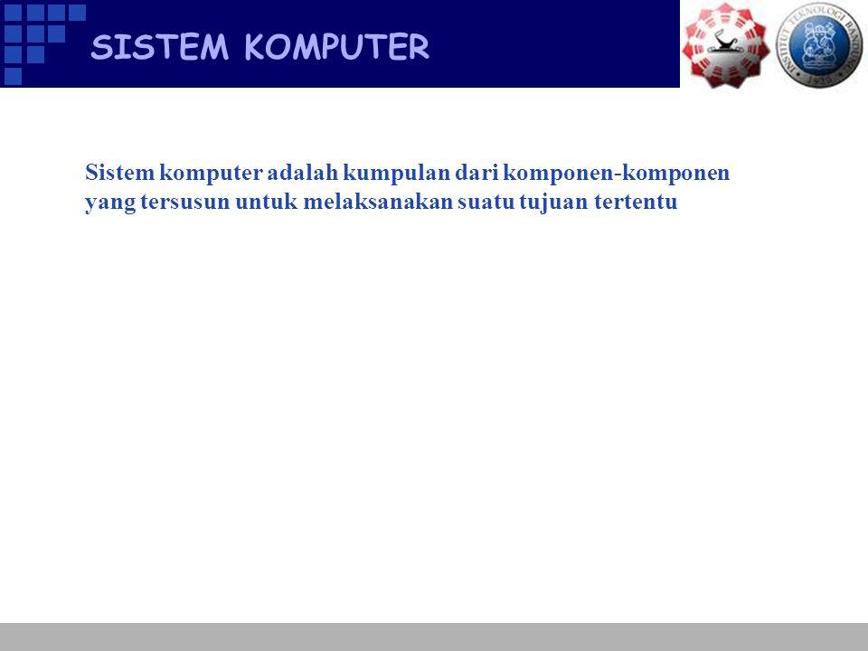 KOMPONEN SISTEM KOMPUTER  Hardware  Software  Data  User  Prosedur  Komunikasi