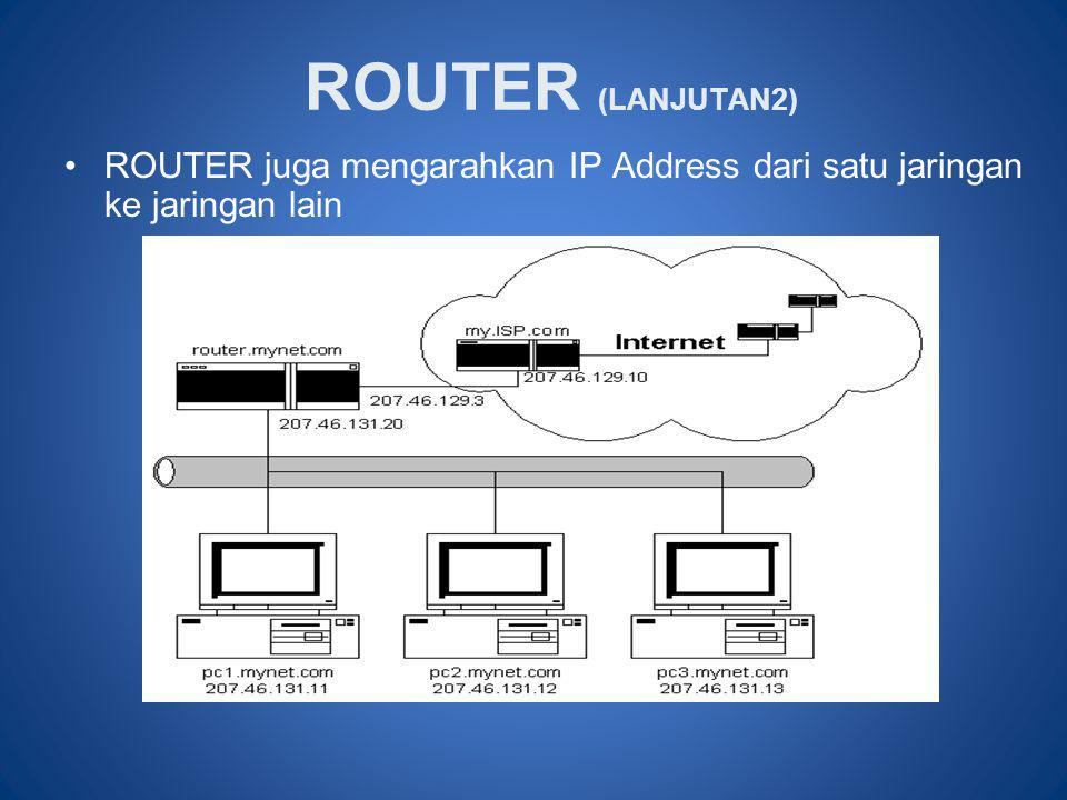 ROUTER (LANJUTAN2) •ROUTER juga mengarahkan IP Address dari satu jaringan ke jaringan lain