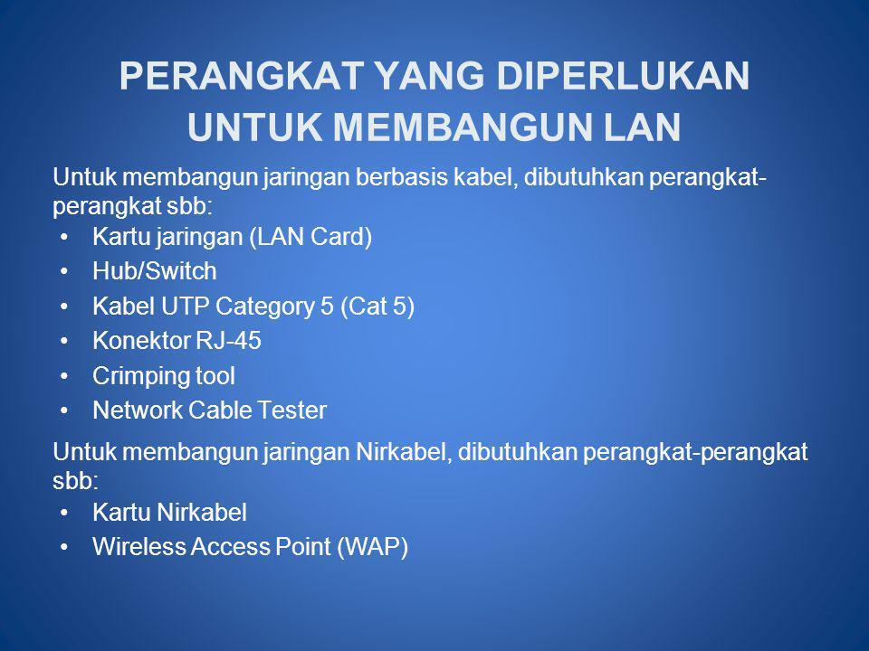 PERANGKAT YANG DIPERLUKAN UNTUK MEMBANGUN LAN •Kartu jaringan (LAN Card) •Hub/Switch •Kabel UTP Category 5 (Cat 5) •Konektor RJ-45 •Crimping tool •Net