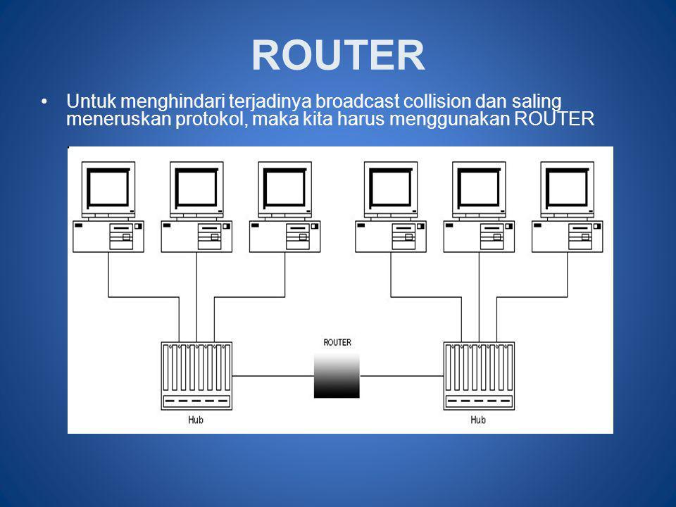 ROUTER (LANJUTAN1) •Dengan ROUTER protokol yang dilewatkan hanya TCP/IP saja TCP/IP Network ID: 192.168.10.0 Network ID: 10.32.0.0