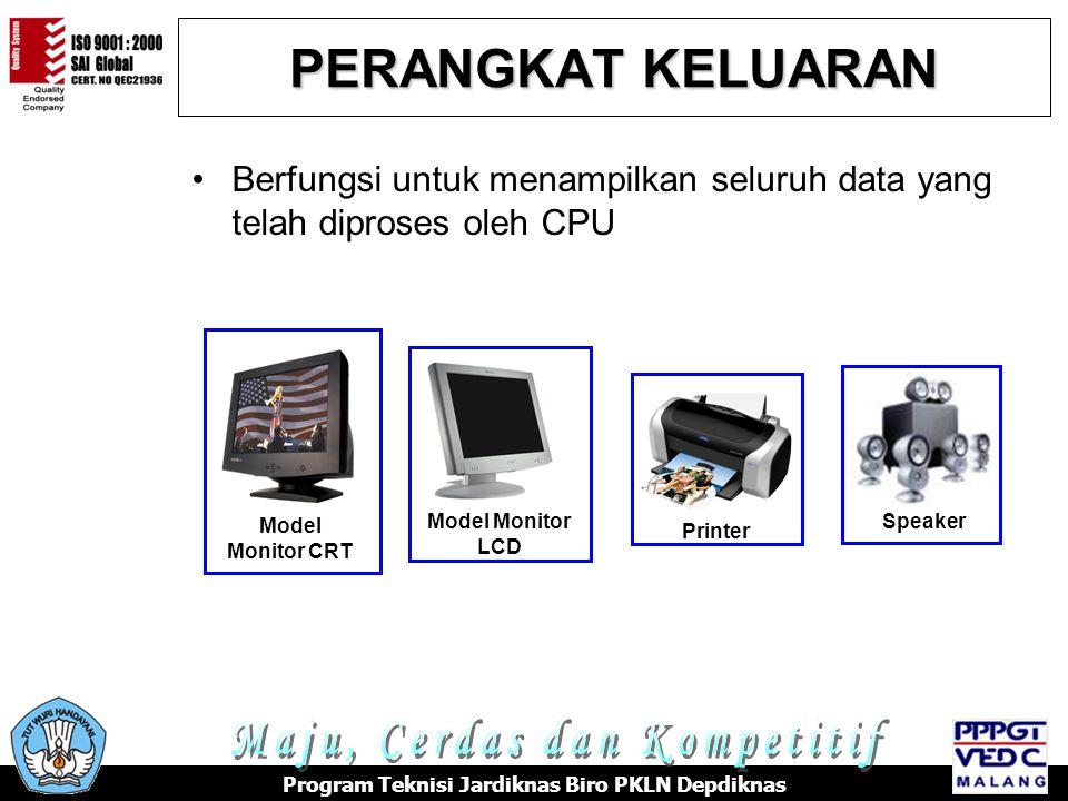PERANGKAT KELUARAN •Berfungsi untuk menampilkan seluruh data yang telah diproses oleh CPU Model Monitor CRT Model Monitor LCD Printer Speaker Program Teknisi Jardiknas Biro PKLN Depdiknas