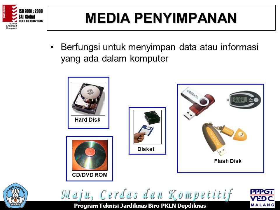 MEDIA PENYIMPANAN •Berfungsi untuk menyimpan data atau informasi yang ada dalam komputer Hard Disk Disket CD/DVD ROM Flash Disk Program Teknisi Jardiknas Biro PKLN Depdiknas