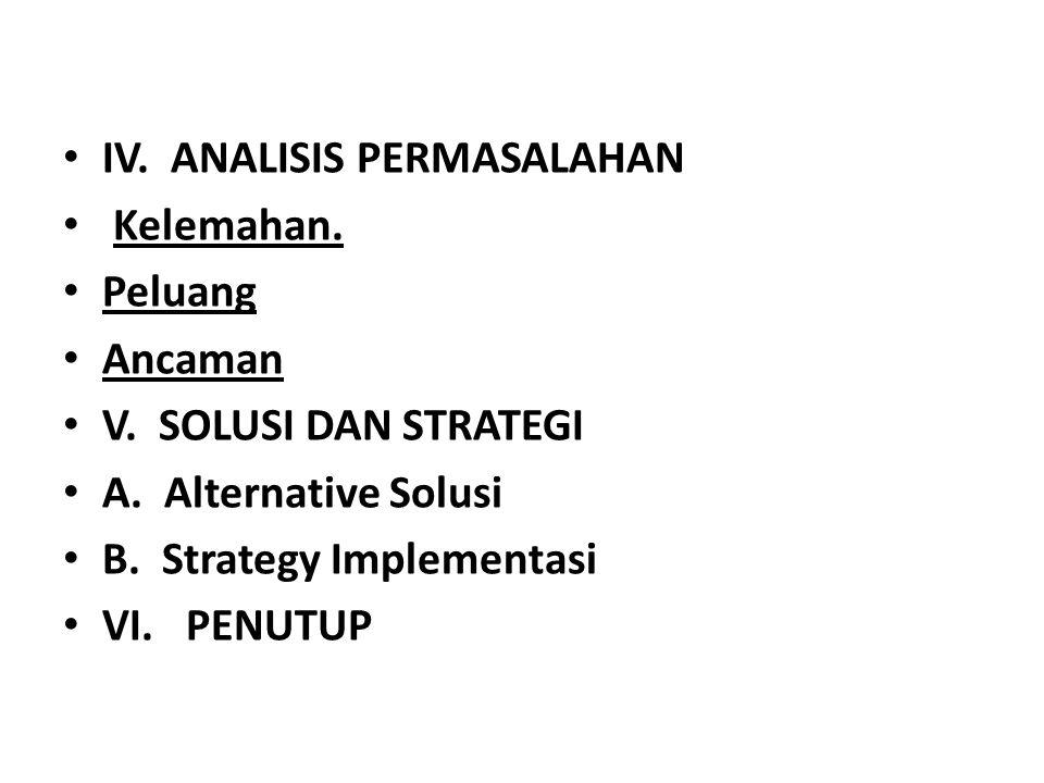 • IV. ANALISIS PERMASALAHAN • Kelemahan. • Peluang • Ancaman • V. SOLUSI DAN STRATEGI • A. Alternative Solusi • B. Strategy Implementasi • VI. PENUTUP