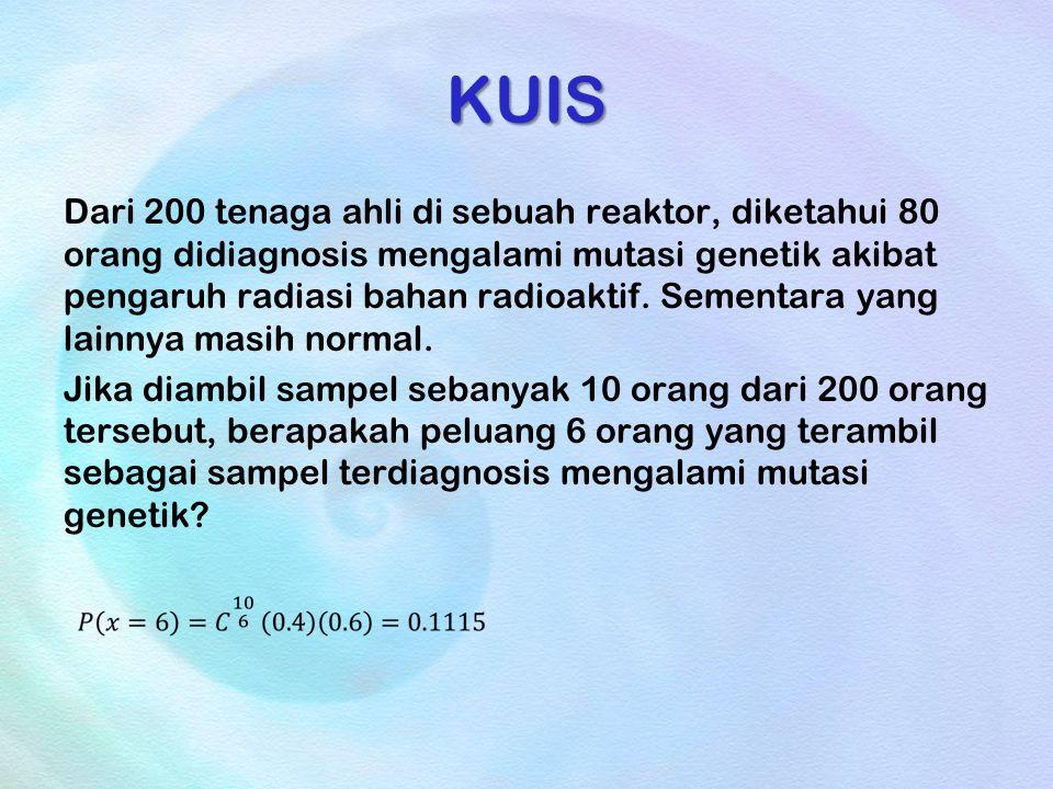 KUIS Dari 200 tenaga ahli di sebuah reaktor, diketahui 80 orang didiagnosis mengalami mutasi genetik akibat pengaruh radiasi bahan radioaktif. Sementa