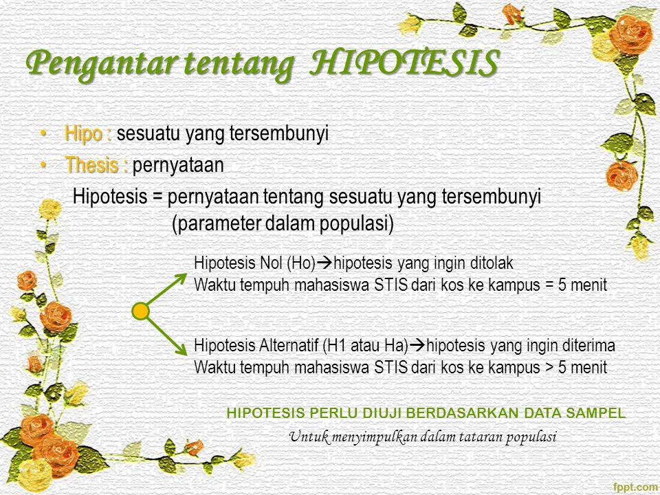 Pengantar tentang HIPOTESIS •Hipo : •Hipo : sesuatu yang tersembunyi •Thesis : •Thesis : pernyataan Hipotesis = pernyataan tentang sesuatu yang tersem