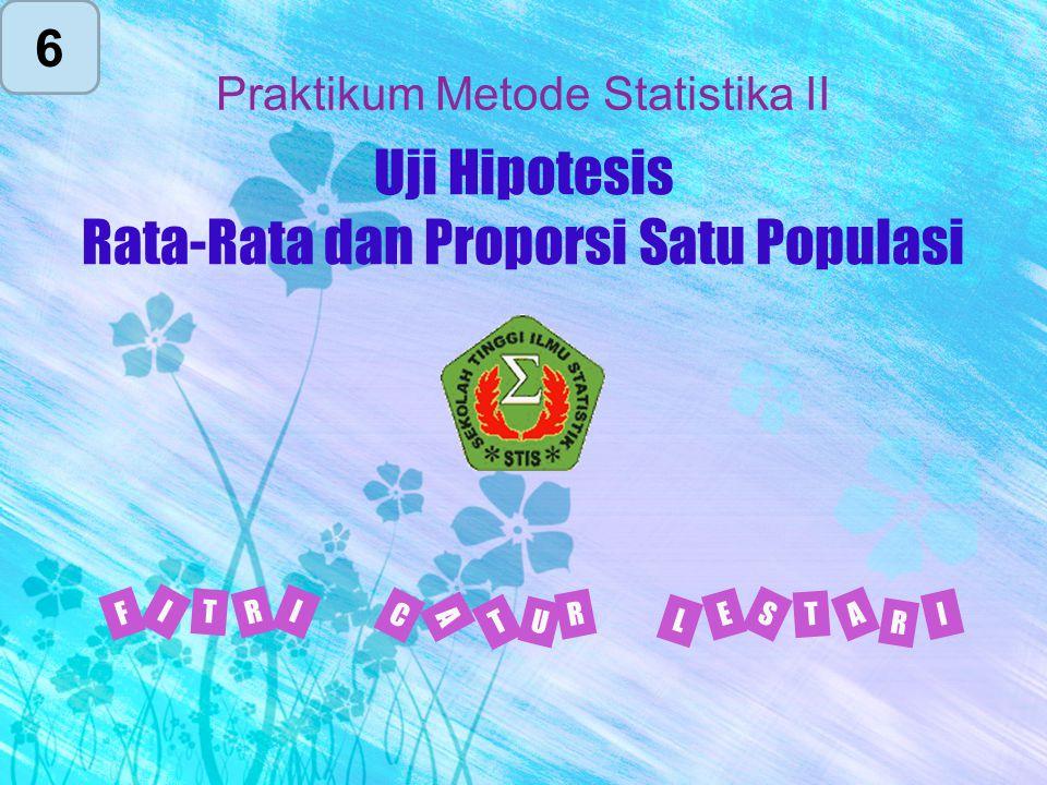 Uji Hipotesis Rata-Rata dan Proporsi Satu Populasi I F R T I L E T S A I R C T U A R Praktikum Metode Statistika II 6